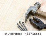 various old hand tools and... | Shutterstock . vector #488716666
