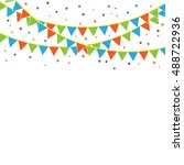 party flags with confetti. | Shutterstock .eps vector #488722936