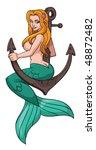 sexy cartoon mermaid sitting on ...   Shutterstock .eps vector #48872482
