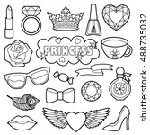 princess fashion patches.... | Shutterstock .eps vector #488735032