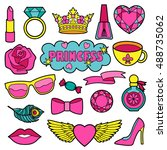princess fashion patches.... | Shutterstock .eps vector #488735062