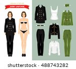 paper doll with military...   Shutterstock .eps vector #488743282