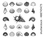 sea shell silhouettes. marine... | Shutterstock .eps vector #488745475