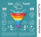 sales funnel vector... | Shutterstock .eps vector #488753776