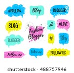 vector speech bubbles with... | Shutterstock .eps vector #488757946