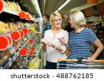 happy female pensioner and her... | Shutterstock . vector #488762185