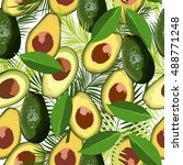 avocado seamless pattern with... | Shutterstock .eps vector #488771248