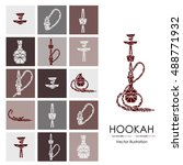 hookah labels  badges and... | Shutterstock .eps vector #488771932