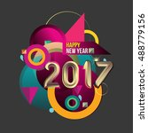 happy new year 2017 colorful... | Shutterstock .eps vector #488779156