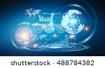 digital datas on hologram... | Shutterstock . vector #488784382