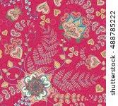 ornate fantasy flowers seamless ...   Shutterstock .eps vector #488785222