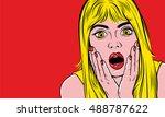 pop art surprised blond woman... | Shutterstock .eps vector #488787622