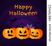 halloween background with... | Shutterstock .eps vector #488789422