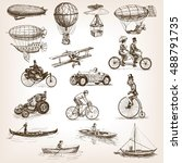 vintage transport set sketch... | Shutterstock .eps vector #488791735