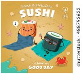 vintage sushi poster design... | Shutterstock .eps vector #488793622