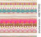 ethnic. boho seamless pattern....   Shutterstock .eps vector #488795902