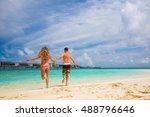 romantic couple having fun on... | Shutterstock . vector #488796646