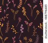 seamless pattern with floral... | Shutterstock .eps vector #488796685