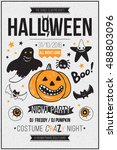 halloween party poster  flyer ... | Shutterstock .eps vector #488803096