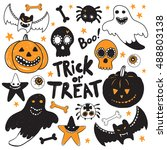 happy halloween hand drawn... | Shutterstock .eps vector #488803138