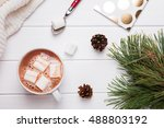 winter sill life with hot cocoa ... | Shutterstock . vector #488803192