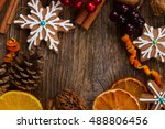 frame with christmas... | Shutterstock . vector #488806456