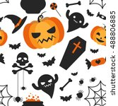 set of cute vector halloween... | Shutterstock .eps vector #488806885