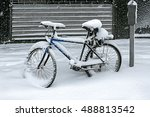 Bicycle Covered With Snow In...