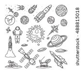 space doodle linear icons.... | Shutterstock .eps vector #488815018