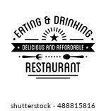 vintage logo. restaurant label... | Shutterstock .eps vector #488815816