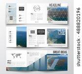 set of tri fold brochures ... | Shutterstock .eps vector #488820196