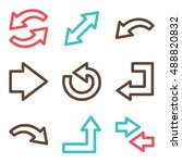 arrows mobile icon  next step... | Shutterstock .eps vector #488820832