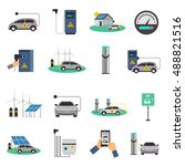 electric car charging public... | Shutterstock .eps vector #488821516