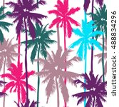 palm trees seamless vector... | Shutterstock .eps vector #488834296