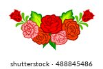 mexican flowers. floral... | Shutterstock .eps vector #488845486