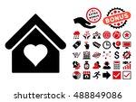 love house icon with bonus clip ... | Shutterstock .eps vector #488849086