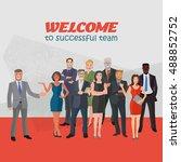 group of modern positive... | Shutterstock .eps vector #488852752