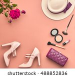 fashion lady accessories set.... | Shutterstock . vector #488852836
