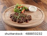 top blade steak with salad and... | Shutterstock . vector #488853232