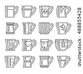 icons set of different cups.... | Shutterstock .eps vector #488855428
