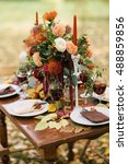 the table decorated with... | Shutterstock . vector #488859856