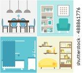 apartment set. apartment... | Shutterstock .eps vector #488861776