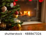 closeup image of golden and red ...   Shutterstock . vector #488867326