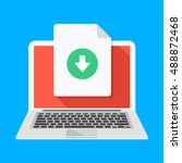 laptop and download file icon.... | Shutterstock .eps vector #488872468