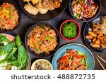 chinese food on dark wooden... | Shutterstock . vector #488872735