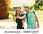 young family with toddler child ... | Shutterstock . vector #488872855