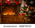 christmas background with red... | Shutterstock . vector #488878552