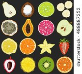 set of fresh hand drawn fruits... | Shutterstock .eps vector #488887252