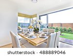 modern dining table set up... | Shutterstock . vector #488889046