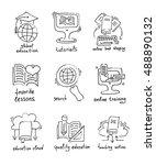 set of hand drawing sketch... | Shutterstock . vector #488890132